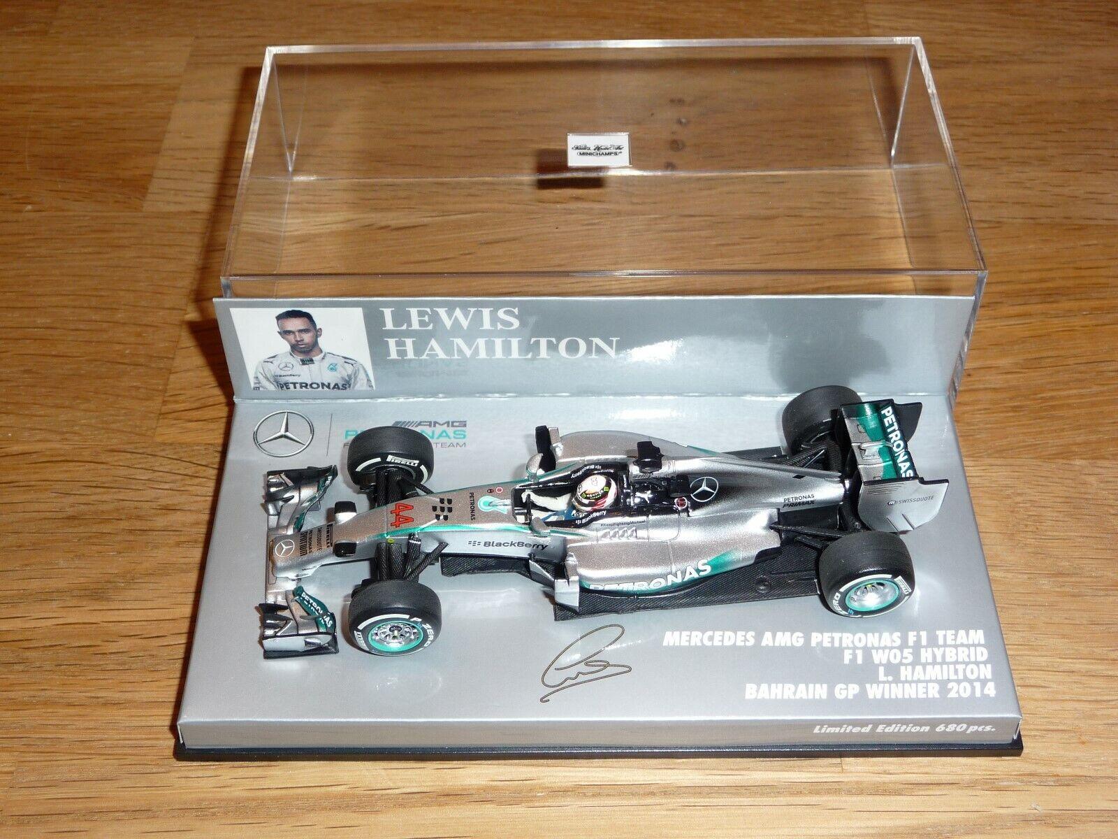diseño simple y generoso 1 43 43 43 Minichamps Mercedes AMG Petronas W05 Bahrain GP Winner 2014 Lewis Hamilton  descuento online