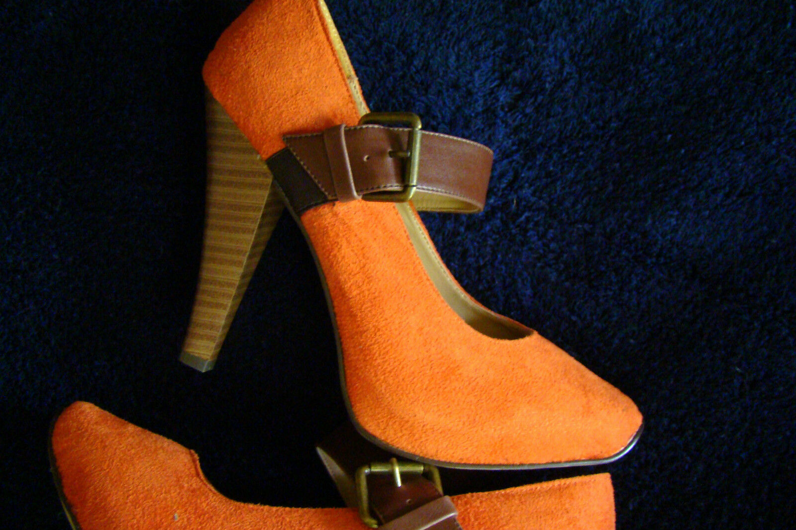 SEXY MISS ME ORANGE SUEDE MARY JANE  4.5