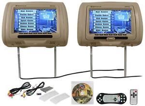 Rockville-RDP931-BG-9-034-Beige-Car-DVD-USB-HDMI-Headrest-Monitors-Video-Games