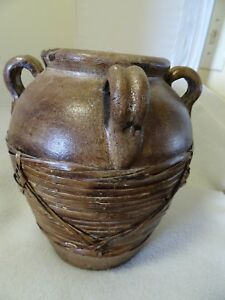 9-1-2-034-BROWN-POTTERY-CLAY-STONEWARE-URN-HANDLES-APPLIED-BASKET-WEAVE-HEAVY