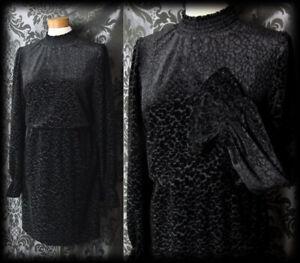 Gothic-Jet-Black-Velvet-CORRUPTION-High-Neck-Wide-Cuff-Dress-14-16-Vintage-Retro