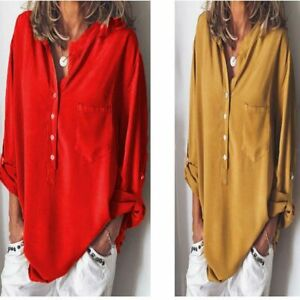 Solid-Women-039-s-Ladies-Tops-Shirt-Fashion-Loose-Long-Sleeve-Casual-T-shirt-Blouse
