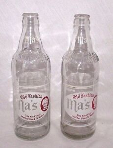 Ma-039-s-Old-Fashion-Bottle-Clear-Glass-ACL-Beverage-Vtg-Soda-12-oz-Lot-2-1944-PA