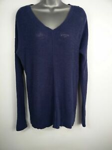 WOMENS-GAP-BLUE-KNITTED-VNECK-LONG-SLEEVE-CASUAL-JUMPER-SWEATER-PULL-OVER-TOP-XS