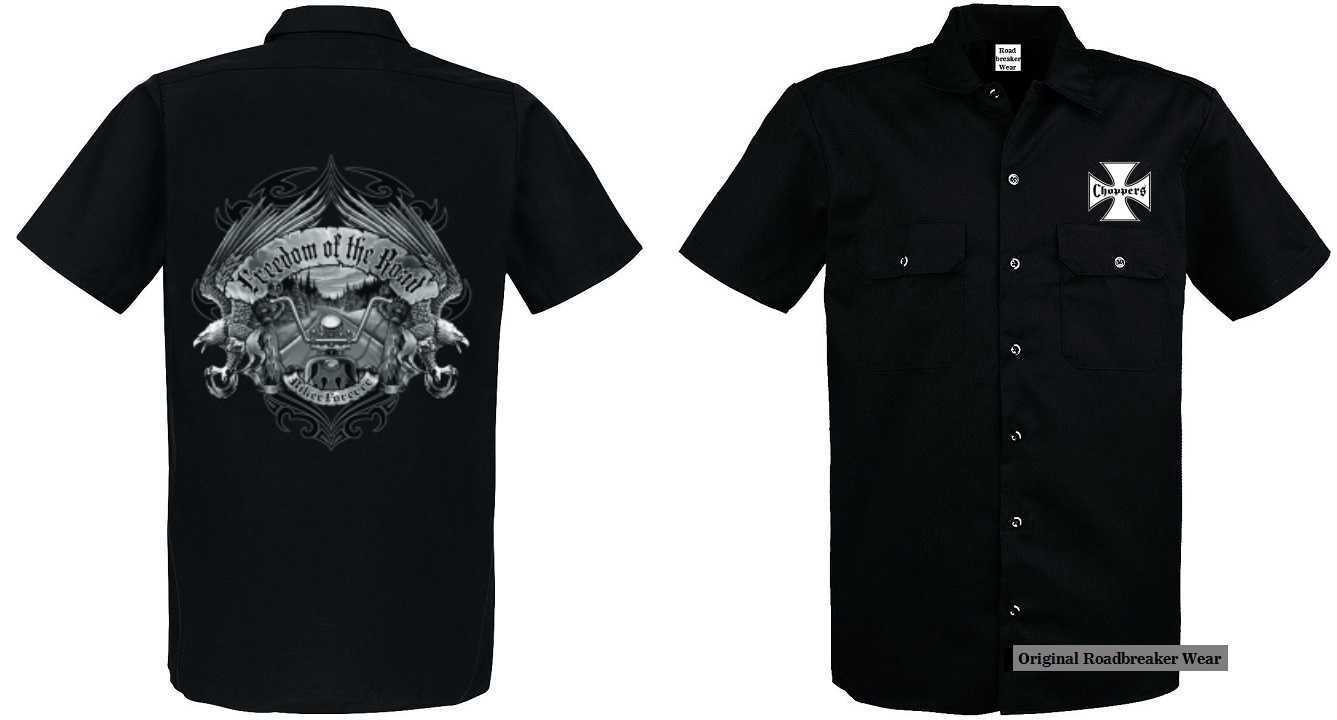 Maglietta WORKER NERO HD BIKER BIKER BIKER CHOPPER oldschoolmotiv modello LIBERTÀ of the 337970