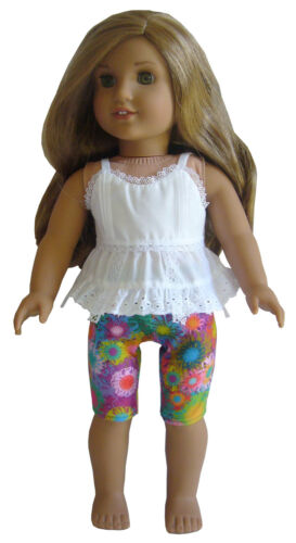 """For 18/"""" American Girl Doll Clothes White Eyelet Top Blouse /& Vivid Flowers Capri"""