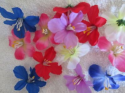 30 Deko Hawaii Blüten Köpfe 6cm Künstliche Kunst Blumen Basteln Floristik Mai