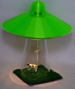 Image is loading UFO-Alien-Abduction-Lamp-Bedroom-GREEN-Spaceship-Light-