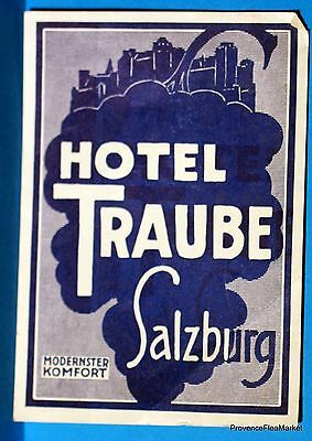 Amiable Hotel Traube Salzburg Original Luggage Label Bd88 Be Novel In Design Breweriana, Beer