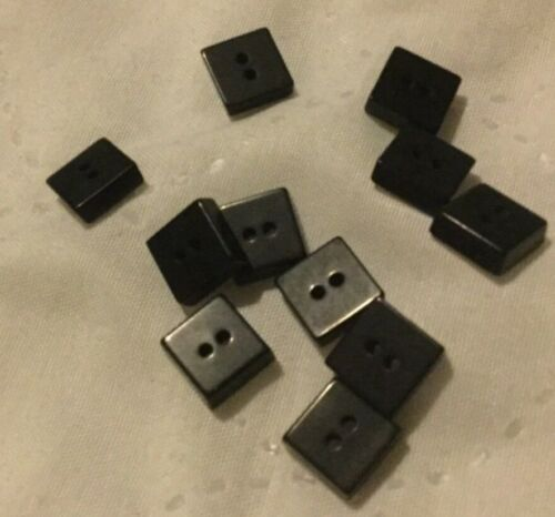 for blouses Square Shaped Black Buttons 10 x NEW shirts etc. 9mm x 9mm x 3mm
