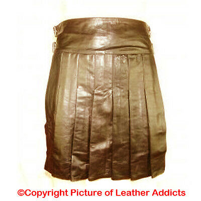 Brown Mens Real LEATHER Full Pleated Utility Kilt GAY Club wear LARP - (K2-BRW)