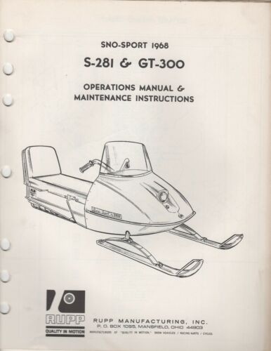 1968 RUPP SNOWMOBILE SNOSPORT S281, GT300 OPERATIONS,MAINTENANCE MANUAL 957
