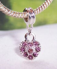 February Birthstone Purple Rhinestone Heart Dangle Charm for European Bracelet