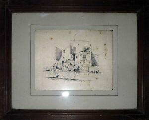 Charmant Tableau Xix° Très Belle Encre, Plume 1850 Signée J. Müller Lavandières