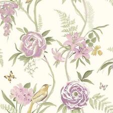 Grandeco Creme Rose Garden Oiseau Papillon Papier Peint Fleur A14601