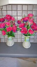 2 Sets Silk Artificial Hot Pink Color Rose Flowers&Vases table Decorations