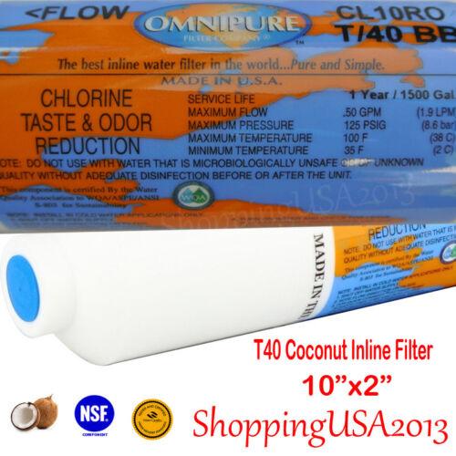 """T40 Inline Filtro Carbonio COCCO 2/""""X10/"""" Osmosi Inversa Filtro Acqua Sistema Omnipure"""