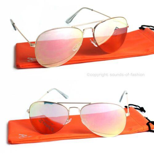 Rennec Piloten Sonnenbrille Retro Luxus Rose Gold Pink Verspiegelt Damen B50