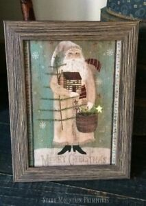 OLD PRIMITIVE VICTORIAN VINTAGE STYLE 1803 LOG CABIN CHRISTMAS CANVAS SIGN TREES