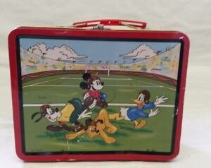 Disney Mickey Mouse Vintage Metal Lunch Box Pail 1997 Series #2 School Bus Wagon
