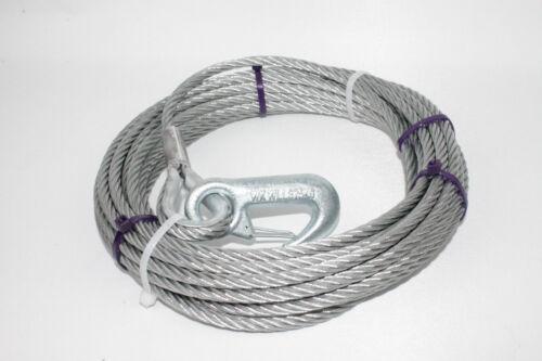 Lasthaken DIN 12385 L2755.15 Stahlseil für Seilwinden Drahtseil Seil 15m Ø7mm m