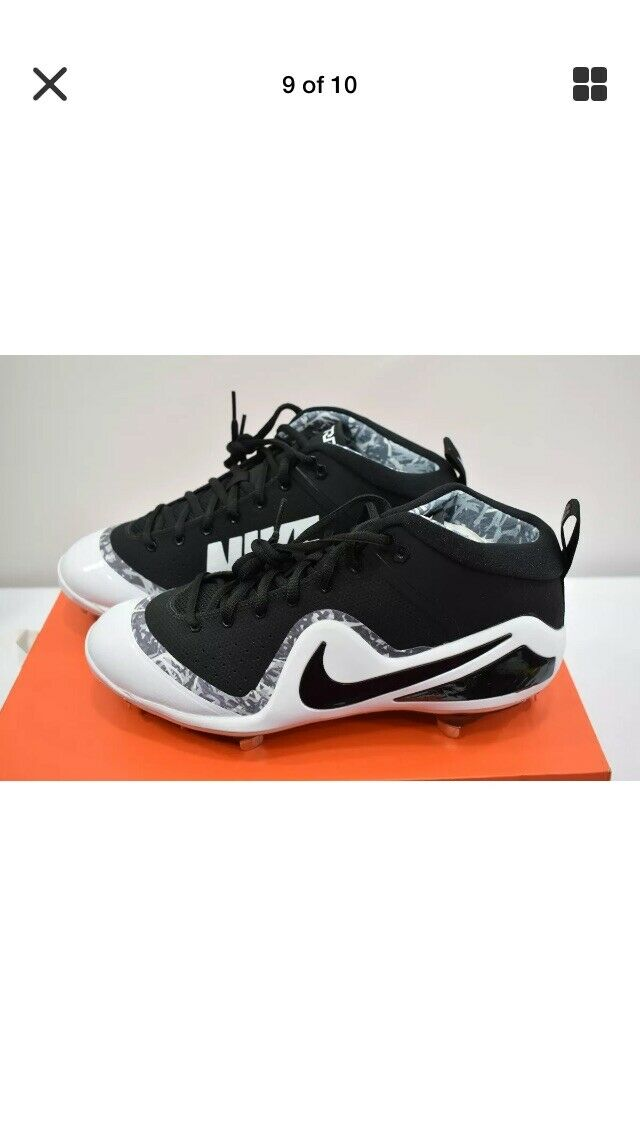 Nike Zoom Mike Trout 4 Metal Metal Metal Baseball Cleats Black and White Men's Size 11 1 2 c8f2aa