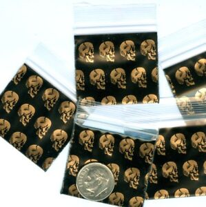 ziplock bags 1515 100 Golden Skulls Apple Baggies 1.5 x 1.5 in