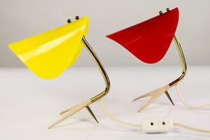 Paar-Nacht-Tisch-Lampen-Kraehenfuss-Acryl-Leuchten-Vintage-Bed-Side-Lamps-50er
