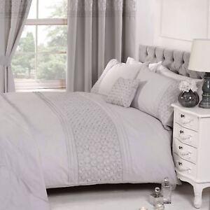 Everdean Blumenmuster Grau Bettbezug & Kissenbezug Set Elegant - Einzel