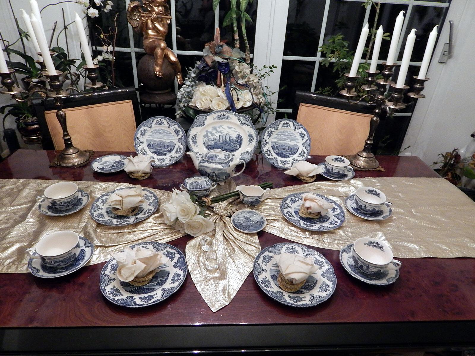Élégant service à thé Johnson Bros England OLD BRITAIN CASTLES bleu 23 pces