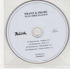 (EJ248) Franz & Shape ft Dirk Da Davo, Maximum Joy - 2006 DJ CD