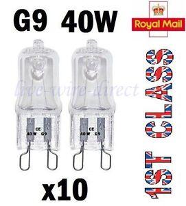 10 X G9 Halogen Glühbirnen Klar Kapsel 240V 25W Watt Dimmbar