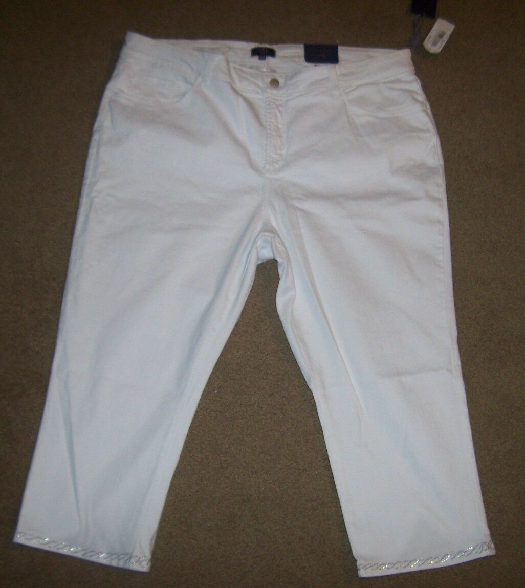 NYDJ Not Your Daughters Jeans ADDIE optic white CROP capri embellished 20W 22W