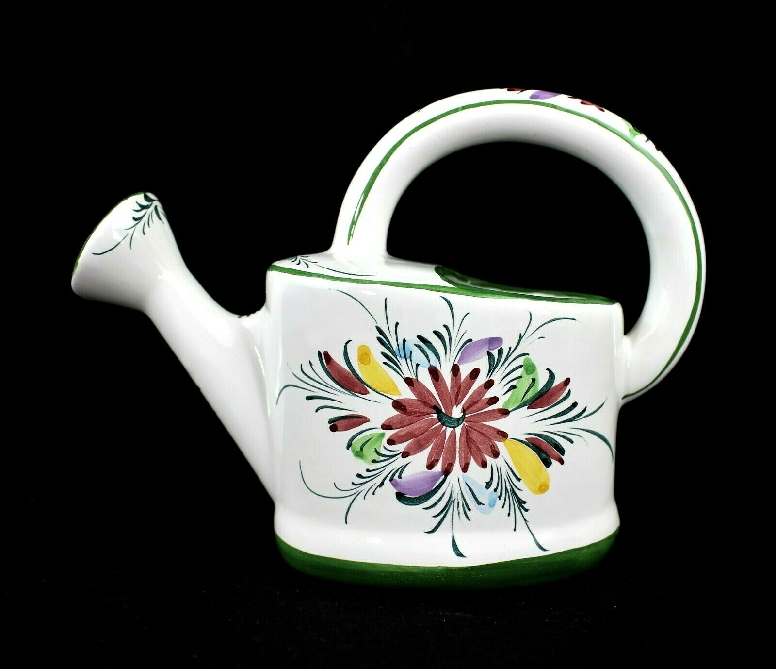 CERAMIC WATERING CAN Vintage 1970s Small Floral Hand-Painted in Portugal Signed