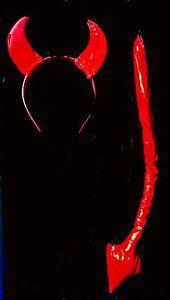 Women-RED-PVC-DEVIL-HORNS-amp-TAIL-SET-Halloween-Costume-ACCESSORIES-by-Leg-Avenue