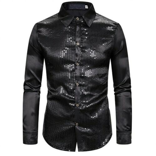 Men Casual Sequins Shirt Button Front Tops Long Sleeve Costume Slim Blouses A8
