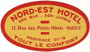 Details About France Luggage Label Hotel Nord Est Paris