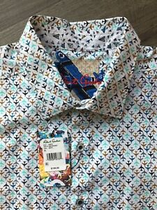 Robert Graham Oriole Airplane Print Classic Fit Shirt Size L White