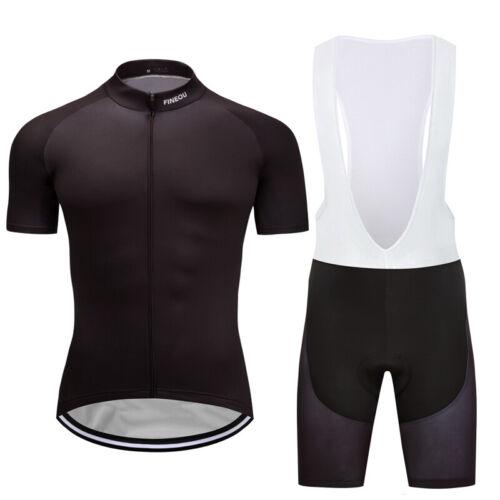 Black Cycling Jersey Bib Shorts Sets Short Sleeve Riding Shirt Racing Shorts Kit