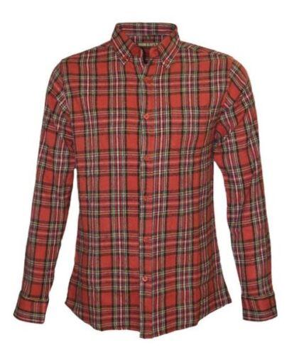 MEN/'S RUN /& FLY60/'S//70/'s MODvintage red royal Stewart check flannel lumbar shirt