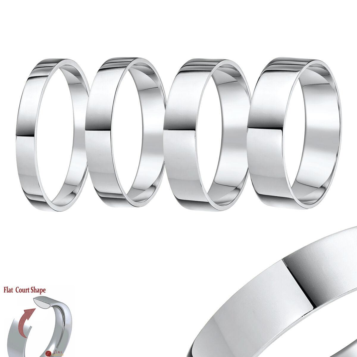 18 Karat Weiss gold Hochzeit Ring Flachgericht Form Solide Punziert 750 Ehering
