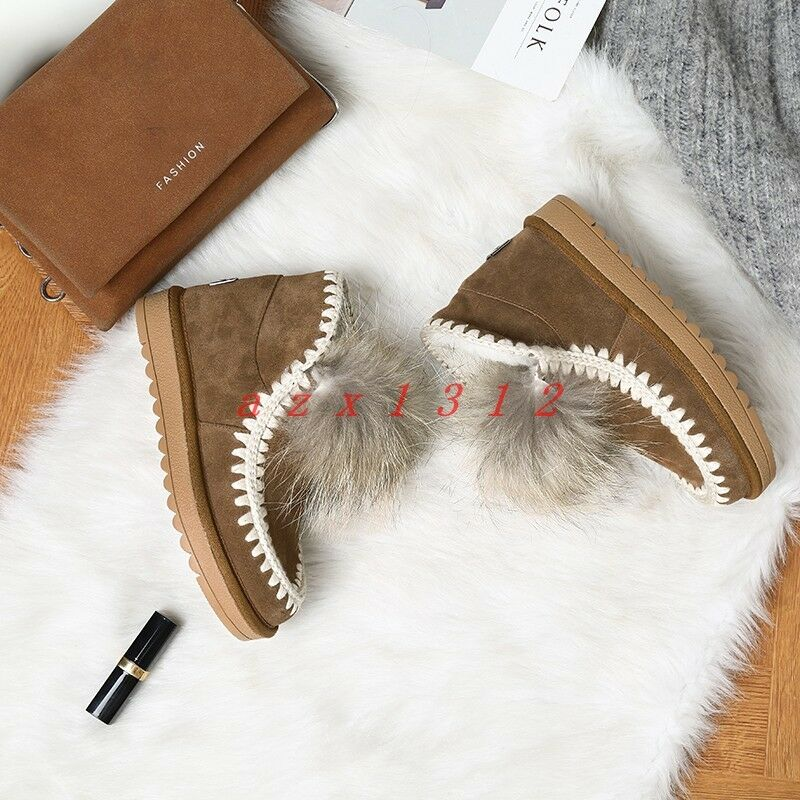 Women Round Toe Fur Fur Fur Warm Winter Ankle Boot shoes Suede Flat Snow Pull On Stylish aebed5