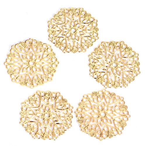 50PCS Bronze Filigree Flower Connectors Crafts DIY Jewelry Making Accessories FO