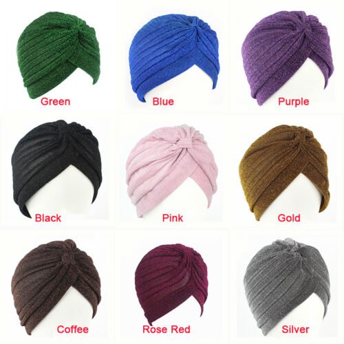 Women Gold Sequin Glitter Indian Turban Muslim Hijab Hats Fall Winter Cap