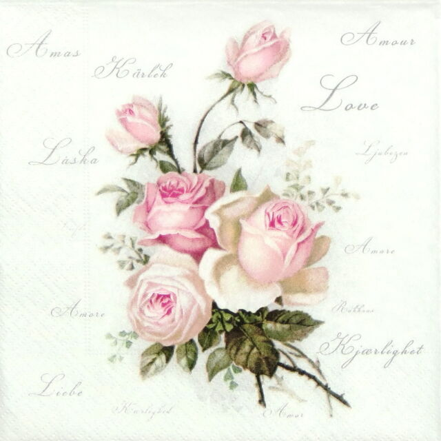 "4x Single Table Party Paper Napkins for Decoupage Craft ""Vintage Amore Roses"""