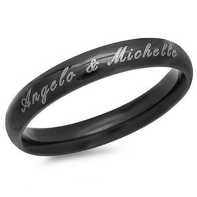 Personalized 4mm Stainless Steel Black Shiny Ring - Free Engraving