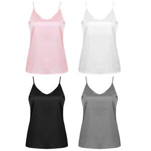 Womens-Smooth-Satin-V-Neck-Silk-Sexy-Vest-Camisole-Sleeveless-Tank-Top-T-Shirts