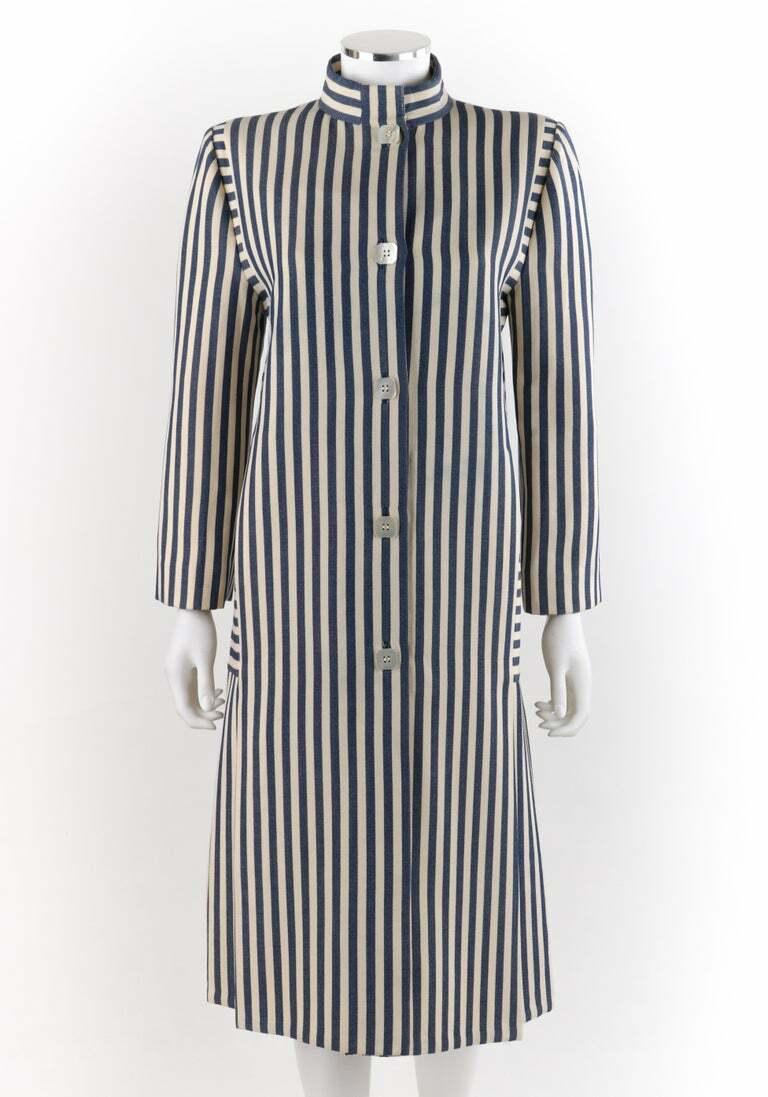 PAULINE TRIGERE c.1980's Blue Ivory Striped Pleat… - image 4