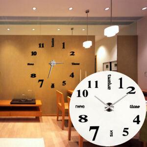 DIY 3D XXL Wanduhr Wohnzimmer Modern Design Wandtattoo Schwarz ...
