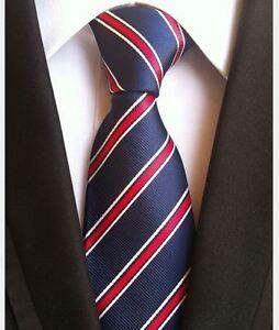 Nuevo-Rojo-Azul-Blanco-Rayas-Corbata-Seda-Chinos-para-Hombre-Camisa-Traje-de-Boda-de-vendedor-de